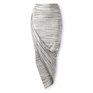 Gray asymmetrical draped skirt